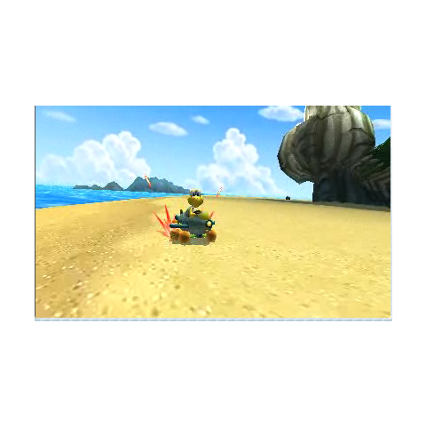Koopa Troopa racing on his beach course in Mario Kart 7