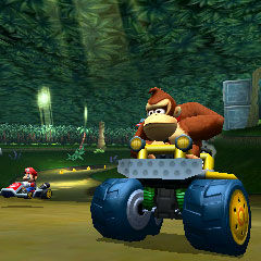 Donkey Kong and Mario, driving through the jungle.