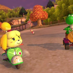 Yoshi and Isabelle racing on the track.
