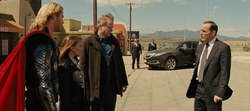 Thor, Jane, Selvig and Coulson