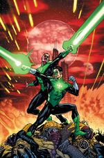Hal and Sinestro fight the Sinestro Corps to save Korugar.