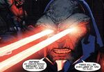 Darkseid firing his Omega Beams.
