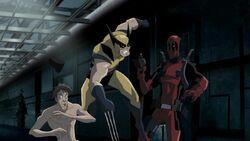 Wolverine Slices Deadpool Gun HV