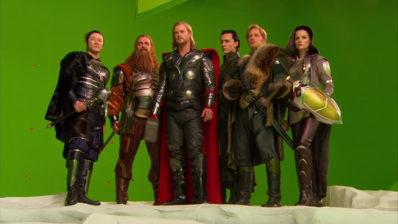 File:Thor with Loki and the Warriors Three on set.jpg