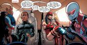 Roberta Mendez (Earth-23291), Sonny Frisco (Earth-23291), Elektra Natchios (Earth-616), and Miguel O'Hara (Earth-TRN588) from Spider-Man 2099 Vol 3 18 001