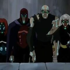 Charles Xavier as one of the Four Horsemen of the Apocalypse, along with Magneto, Storm, and Mystique