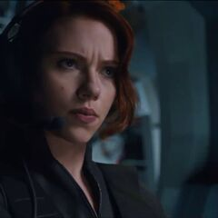 Black Widow in the cockpit of the Quinjet.