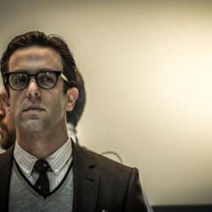 B.J. Novak on set as Alistair Smythe.