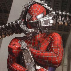 Spider-Man caught in the tentacle grip of Doctor Octopus.