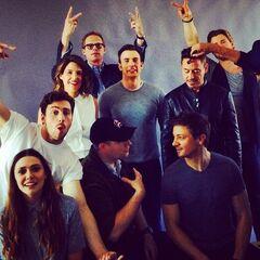 Avengers: Age of Ultron Cast at SDCC'14 (which includes: Robert Downey Jr, Chris Evans, Chris Hemsworth, Elizabeth Olsen, Aaron Taylor-Johnson, Paul Bettany,  Mark Ruffalo, Jeremy Renner, Cobie Smulders, and Scarlett Johansson)