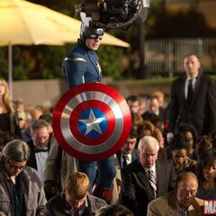 On set with Chris Evans (Captain America).