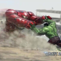 Tony Stark using the Hulkbuster against Hulk concept art.