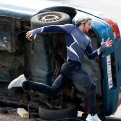 Aaron Taylor-Johnson on set