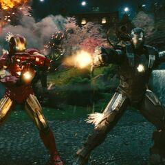 Iron Man and War Machine fighting Hammer Drones.