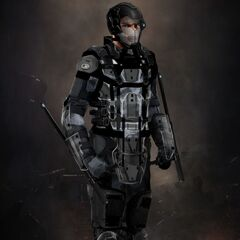 Concept art for a Trask Industries soldier in <i>X-Men: Days of Future Past</i>.