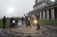 Christopher Eccleston taking direction