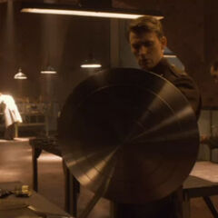 Steve holds the Shield.