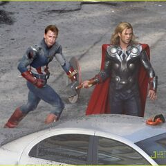 Thor and Captain America on set.