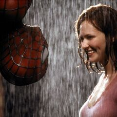 Spider-Man and MJ in the rain.