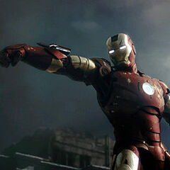 Iron Man in battle.
