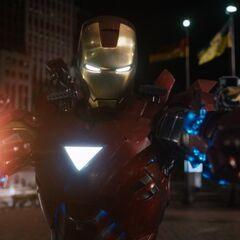 Iron Man prepares to attack Loki.