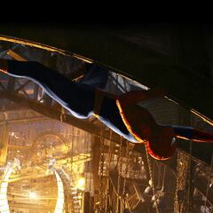 Spider-Man wall-crawling above Doc Ock's lair.
