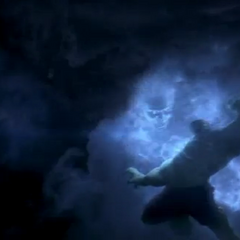 Banner fights Hulk in the clouds.