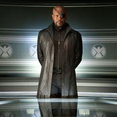 Nick Fury: S.H.I.E.L.D. commander.