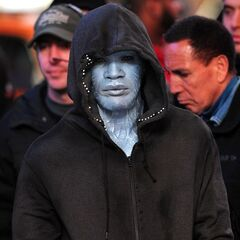 Jamie Foxx on set as Electro.
