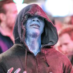 Jamie Foxx on set as Electro.