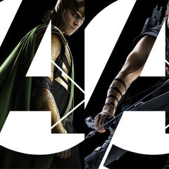 Banner featuring Nick Fury, Loki, Hawkeye and Black Widow for the Avengers.