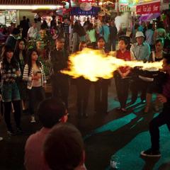 Chan Ho Yin impresses a street audience