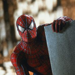 Spider-Man views the disturbance at the bridge.