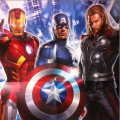 Iron Man, Captain America, and Thor poster.