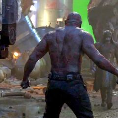 Behind the Scene photo of Ronan the Accuser and Drax the Destroyer from Guardians of the Galaxy