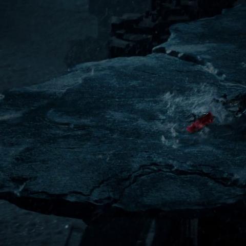 Thor and Malekith landing in Jotunheim