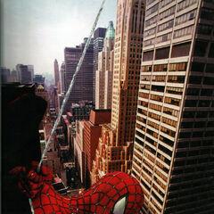 Spider-Man swing above manhattan.