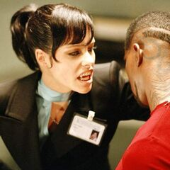 Danica confronts an imprisoned Blade.