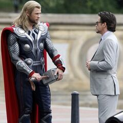 Tony Stark and Thor on set.