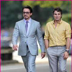 Robert Downey Jr.'s Tony Stark on set with Mark Ruffalo's Bruce Banner.