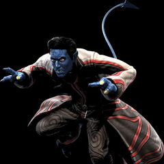 Nightcrawler wearing a custom X-Men Uniform in <i>X-Men: The Official Game</i>. He later leaves the team as he is morally unable to cope with their violent life style.