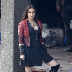 Elizabeth Olsen on set as <i>Scarlet Witch</i>