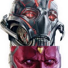 Promotional art of Ultron vs. Vision