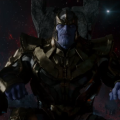 Thanos on his floating throne.