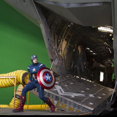 On set with Chris (Captain America), Scarlett (Black Widow) and Jeremy (Hawkeye) aboard the Quinjet.