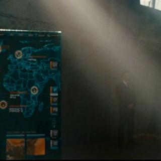 Wakanda on the map as Stark walks away.