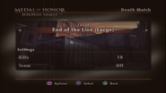 End of the Line Menu Screen