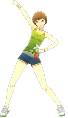 File:P4D Chie Satonaka summer outfit change.PNG
