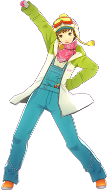 File:P4D Chie Satonaka snow suit DLC outfit change.PNG