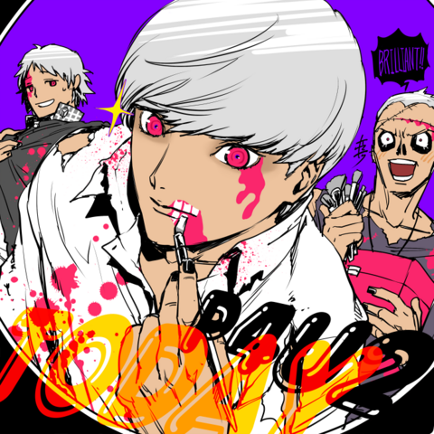 File:P4AU Illustration Halloween 2016 of Yu, Yosuke, and Kanji by Rokuro Saito.png